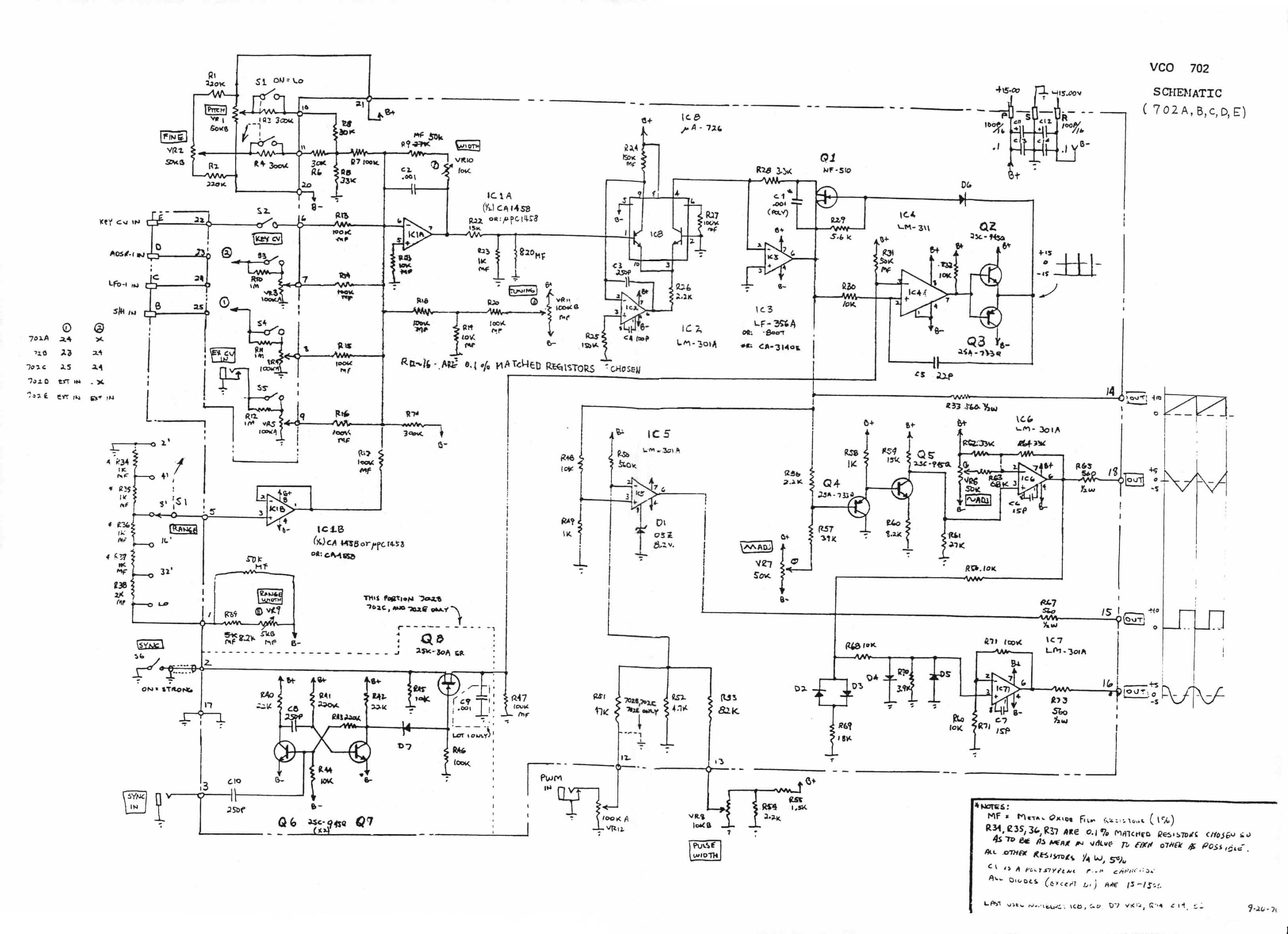 Ua726 Synth Vco Issues Continued Gearslutz Circuit Diagram The Designer Of Board Used It On A Roland 702 And Changed R9 From 50k To 68k So That Trimpot Vr10 Would Have Required Leeway
